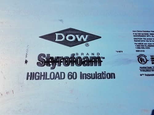 2' Dow Highload 60 EPS foam (custom cut price is per square inch)
