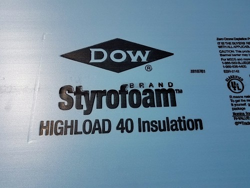 2' Dow Highload 40 EPS foam (custom cut price is per square inch)